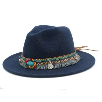 New Wool Women Men Felt Fedora Hat With Tassel Bohemia Ribbon Elegant Lady Winter Autumn Jazz Church Godfather Sombrero Caps