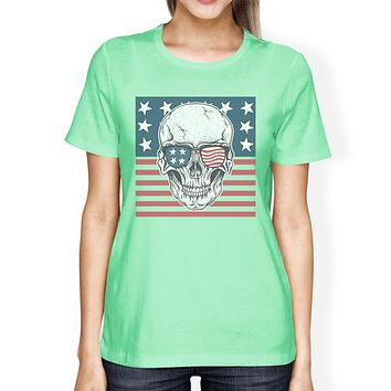 Skull American Flag Tee Womens Mint Round Neck US Army Gifts