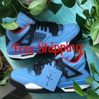 [ Free  Shipping ]Air Jordan 4 x Travis Scott Cactus Jack 308497-406 Basketball Sneaker