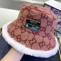 GUCCI New fashion artificial plush  more letter couple fisherman hat cap