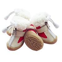 Dog Shoes Winter Warm Snow Boots Anti-skidding Pet Shoes For Small Dogs Chihuahua Teddy Puppy Cat Shoes Non-Slip Soles 4pcs/set