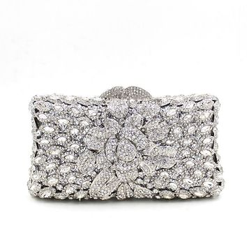 New Silver Rhinestone Hardware Box Clutch For Bridal Wedding Purses
