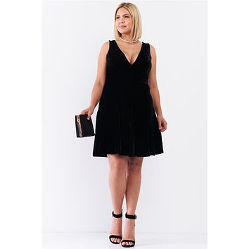Junior Plus Size Black Velvet Sleeveless Deep Plunge V-Neck Swing Bottom Dress