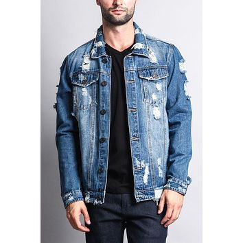 Distressed Faded Denim Jacket