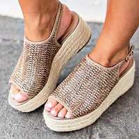 New large size sandals for women in summer with hemp rope and thick sole