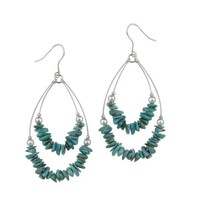 Sterling Silver and Turquoise 2-Row Swing French Wire Earrings