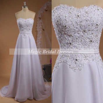 Charming A-line Simple Wedding Dress with train Sweetheart Beading Lace Appliques Decorate Slim Bridal chiffon Gown for Wedding