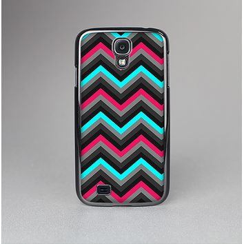The Sharp Pink & Teal Chevron Pattern Skin-Sert Case for the Samsung Galaxy S4