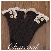 Lace Motif Button Accent Charcoal Boot Toppers, Boot Cuffs, Leg Warmers