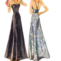 1930s Evening Gown Pattern, McCall 9844, Open Back Dress with V-Straps & Ruched Bodice, 1938 Vintage Sewing Pattern, Bust 36