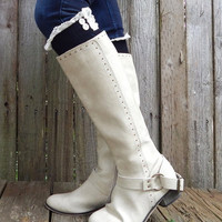 Chevron Knit Knee High Boot Socks with Lace