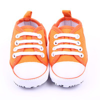 Casual Infant Baby Boy Girl Soft Sole Crib Shoes Newborn Non-slip Cotton Canvas Solid Lace-Up Sneaker NW