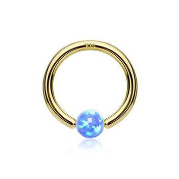 14 Karat Gold Fire Opal Ball CBR Style Bendable Hoop Ring