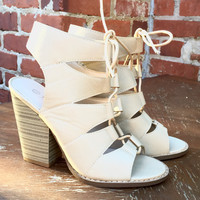 A Laceup Bootie in Golden Nude