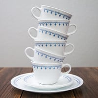 Corelle Snowflake Blue Cups and Plates