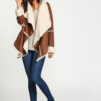 Brown Furry Shearling Jacket