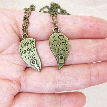 Friends Necklaces -  Don't Forget Me, I Want You - Friend Jewelry - Best Friends Forever