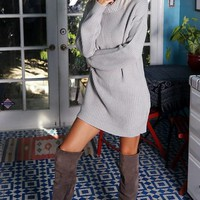 Cowl Neck Sweater Dress - Gray