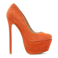 ZIGI GIRL SPYGLASS PLATFORM PUMP - ORANGE SUEDE