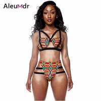 Summer beach wear 2019 High Waisted Crochet Bikini Swimsuit Women Swimwear African Print Inspired Two Piece Bathing Suit LC41665