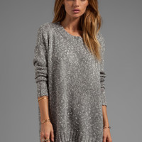 Michael Stars Boucle Tweed Long Sleeve Boatneck Boyfriend Pullover in Heather Grey from REVOLVEclothing.com