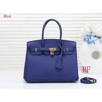 """Vsgirlss """"Hermes"""" ladies fashion simple casual top layer leather lychee pattern shoulder bag Blue"""