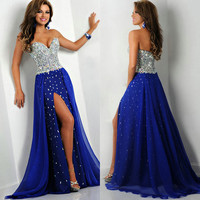 2014 New Sweetheart Sleeveless Beaded Crystal Zipper Back A-Line Chiffon Prom Dresses Front Split Pageant Dresses