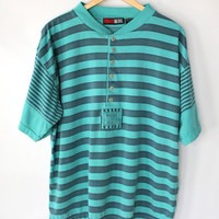 Vintage 80s Teal & Blue Worn In Henley Tee // Unisex Striped Tshirt