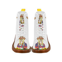 Cowgirl Sugar Skull White Martin Boots For Women Model 1203H | ID: D1486701