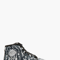 Alexander Mcqueen Black Skull And Lace High-top Sneakers