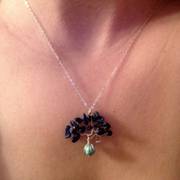 """Lapis Lazuli and Howlite Turquoise Swing Tree Necklace, 18"""" Chain 925 Sterling Silver Necklace"""