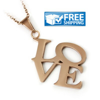 """Love Gift - LOVE Monogram Couples Necklace, 18"""" Chains Included"""