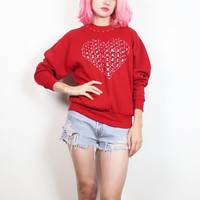 Vintage 1980s Sweatshirt Red DIY Upcycled Heart Print CUT OUT 80s Sweatshirt Valentines Day Kawaii Folk Sweater Jumper Pullover M Medium