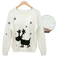 New Fashion Autumn/Winter Round Neck Korean Snowflake Deer Print Women Pullover Long Sleeve Knitted Sweater - 2 Great Colors!