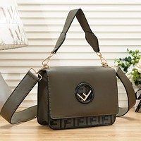 Fendi Fashion New Letter Print Leather Handbag Shoulder Bag Women Green
