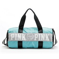 PINK Victoria's Secret Sport Yoga Satchel Travel Bag Shoulder Bag Crossbody Light blue I