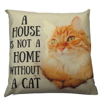 Cat |  Not a home without a Cat | Cute Cat | Cat Gifts | Cat Decor | Cat Photo | Gifts for Cat Lovers | Accent pillow | Throw Pillow Covers