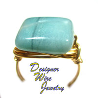 DWJ0571 Stunning Amazonite Blue Gemstone Gold Wire Wrapped Ring All Sizes