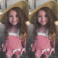 Childrens Swimsuit Cute 6 Months~3y Baby Girl Ruffled Swimwear Straps  Striped Beach Clothes New Summer Girls Bathing Suit Children Swimwear KO_25_2