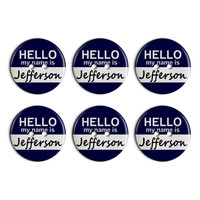 Jefferson Hello My Name Is Plastic Resin Button Set of 6
