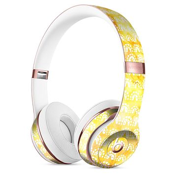 The Watercolor Yellow Surface with White Semi-Circles Full-Body Skin Kit for the Beats by Dre Solo 3 Wireless Headphones
