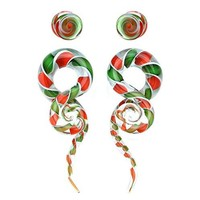 BodyJ4You Glass Gauges Kit Twisted Ear Tapers Plugs Candy Cane Swirl 0G 8mm Piercing Jewelry