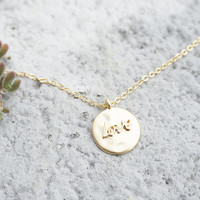 Love Necklace Bridesmaids Anniversary Gift Round Gold Hand Stamped Minimal Thin Chain Simple Necklace