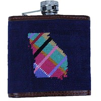 Custom Madras Georgia Needlepoint Flask in Dark Navy by Smathers & Branson