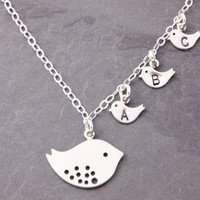 Initial Necklace for Mom, 1 to 3 kids, personalized, mommy necklace, triplets, mother daughter, new mom necklace, silver bird necklace, N7-2