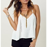 Bardot Embroidered Crop Top