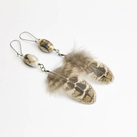Ceramic beads earrings with natural brown feathers / Bohemian Boho Hippie Boho Chic earrings Gypsy Jewelry Bohemian Organic Nature Feathers
