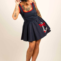 Full Circle Mini Dress with Anchor Tattoo UK Size 8-16/US Size 4-12 Made to Order