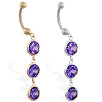 14K Gold belly ring with triple dangling round Amethyst