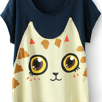 Navy Short Sleeve Cat Print T-Shirt